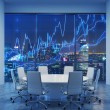 Panoramic conference room in modern office, citysc...