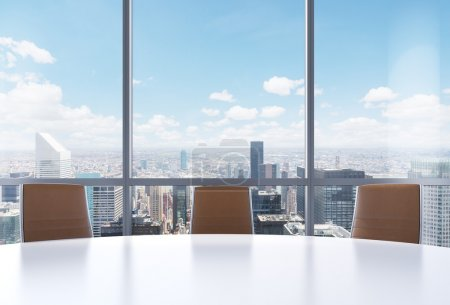 Panoramic conference room in modern office, New Yo...