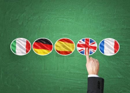 A concept of foreign language studying process. A finger is pointing out the Unites Kingdom flag as a priority in choice of foreign languages. Green chalkboard background.