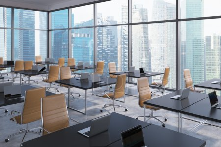 Workplaces in a modern corner panoramic office, Singapore business city view. Open space. Black tables and brown leather chairs. A concept of financial international services. 3D rendering.