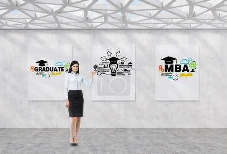 Full length brunette girl in a formal clothes is pointing out the whiteboard with possible paths of further education. The concept of the MBA degree. Contemporary exhibition space.