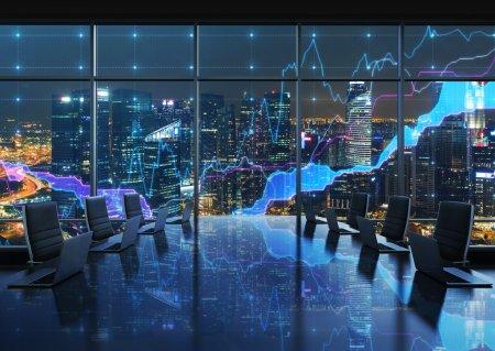 Photo pour Une salle de conférence équipée d'ordinateurs portables modernes dans une vision moderne de la ville bureau, le soir de New York panoramique. tableaux financiers sont établis sur les fenêtres panoramiques. rendu 3d. - image libre de droit