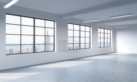 Modern bright clean interior of a loft style open space. Huge windows and white walls. New York panoramic city view. 3D rendering.