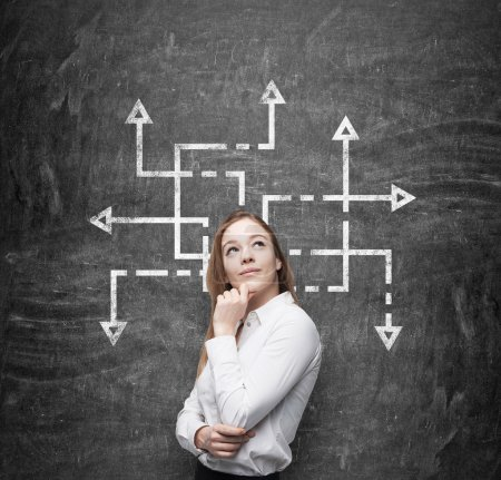 A side view of beautiful woman who is pondering about possible solutions of the complicated problem. Many arrows with different directions are drawn around her head. Black chalkboard background.