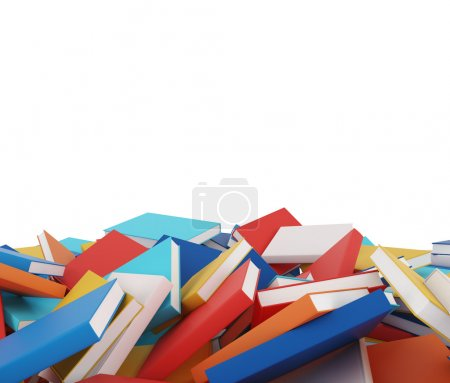 A heap of different books with colorful covers which are laying on the floor. Isolated On White.