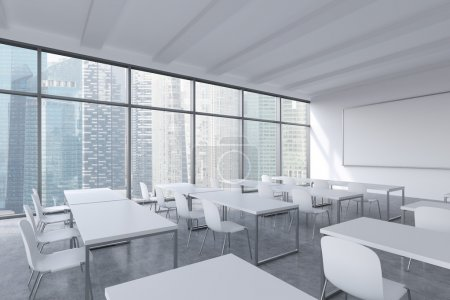 A modern panoramic classroom with Singapore view. White tables and white chairs. 3D rendering.