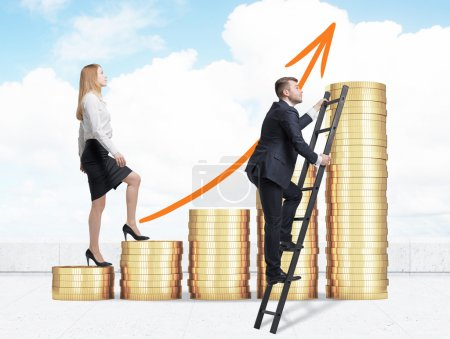 A woman in formal clothes is going up through a stairs which are made of golden coins, while a man has found a shortcut how to reach the final point. A concept of success. Cloudy sky background.