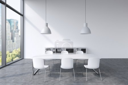 A conference room in a modern panoramic office with New York view. White table, white chairs, a bookcase and two white ceiling lights. 3D rendering.