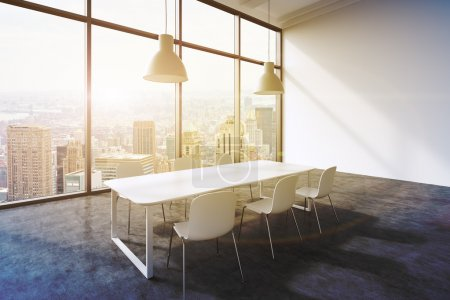 A conference room in a modern panoramic office with New York city view. White table, white chairs and two white ceiling lights. 3D rendering. Toned image.