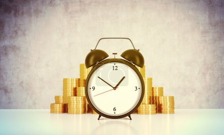 An alarm clock and golden coins are on the table in a room with concrete wall. A concept of time management or billing the services in consulting companies. 3D rendering. Toned image.