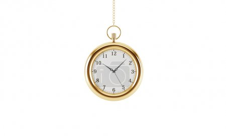 Gold pocket watch. Isolated on white background. 3D rendering.