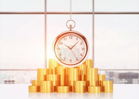 A composition of golden coins and hanging on the chain pocket watch. Sunset New York panoramic view. A concept of time is money or a value of time in business. Toned image. 3D rendering.