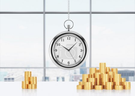 A composition of golden coins and hanging on the chain pocket watch. New York panoramic office on background. A concept of time is money or a value of time in business. 3D rendering.