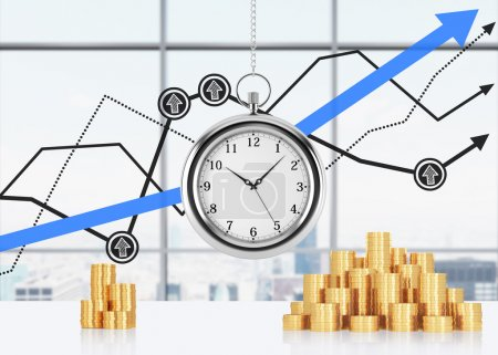 A composition of golden coins and hanging on the chain pocket watch. New York panoramic office and financial line charts are on background. A concept of time is money or a value of time in business. 3
