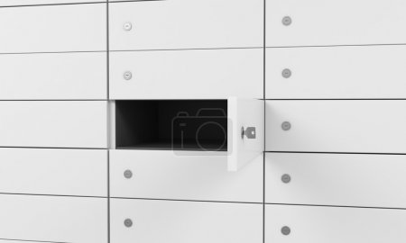 White safe deposit boxes in a bank, one box is open. A concept of storing of important documents or valuables in a safe and secure environment. 3D rendering.