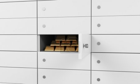 White safe deposit boxes in a bank. There are gold bullions inside of a one box. A concept of storing of important documents or valuables in a safe and secure environment. 3D rendering.