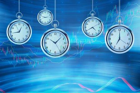 Quatre modèles de montres de poche planent dans l'air sur des graphiques financiers arrière-plan. Un concept d'une valeur de temps sur les marchés financiers. chart Forex. rendu 3d