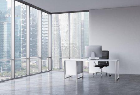 Photo pour Un lieu de travail dans un coin bureau panoramique moderne avec vue sur Singapour. Un bureau blanc avec un ordinateur moderne, fauteuil en cuir noir. Un concept de services de consultation. rendu 3d - image libre de droit
