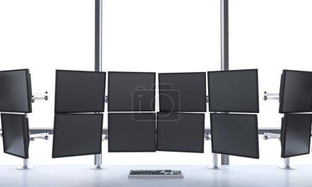 Photo pour Rendu 3D du bureau avec moniteurs éteints, traitement des données pour le trading, fenêtre en arrière-plan , - image libre de droit