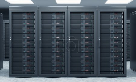 3D rendering of server for data storage, processing and analysis