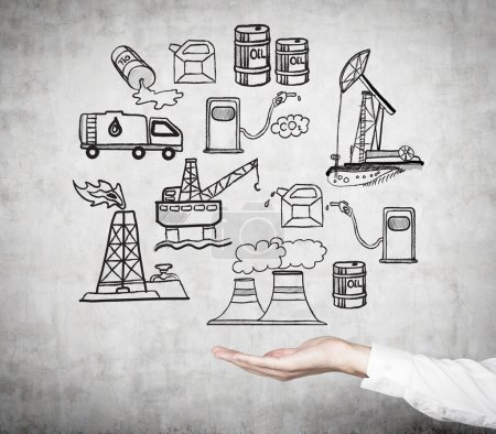 illustration of oil industry components on the wall