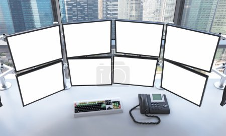 office with blank monitors, processing data for trading, singapo