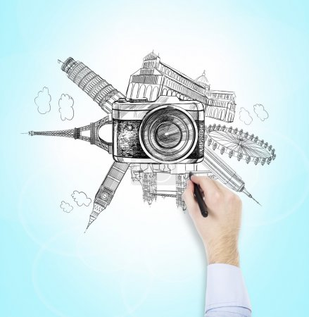 Photo pour Illustration des vues de Londres, Paris, New York, Pise telles que Big Ben, London Eye, Notre Dame, Empire State Building, Tower Bridge, Pisa Tower disposés en cercle, caméra photo à l'avant. - image libre de droit