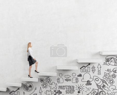 business woman climbing a career ladder