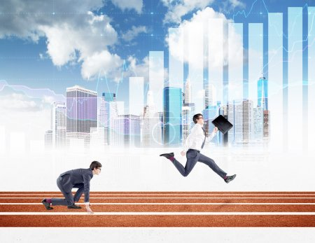 Two young businessmen competing on the track. One in crouch start, the other running forward with a black folder. New York, blue sky and graphs at the background. Concept of competition.