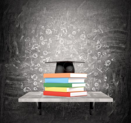 Photo for A pile of books in coloured covers on a shelf, an academic hat above. Black background with scientific icons. Concept of education. - Royalty Free Image