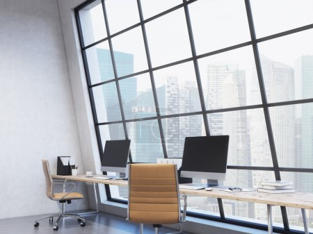 Photo for Row of workplaces in the office, computer, keyboard, mouse, organizers, coffee, folders on the table, window behind the table, Singapore view, side view. Concept of work. - Royalty Free Image