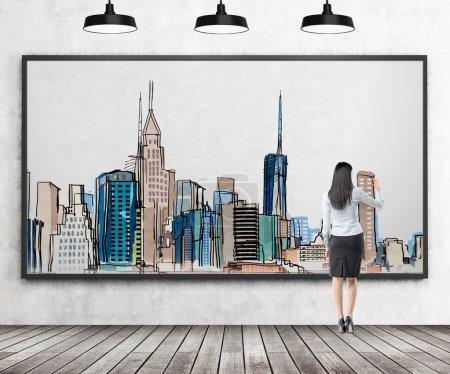 Woman drawing New York