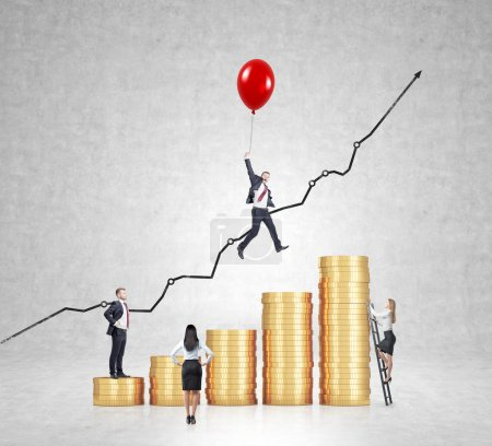 Businessman flying on red baloon over bar chart made of coins, another man standing on the lowest bar, woman climbing a ladder, another woman looking at them.