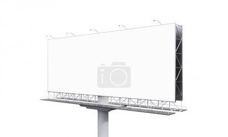 Photo for Huge blank billboard on one support at white background. Side view. Concept of advertising. 3D rendering - Royalty Free Image