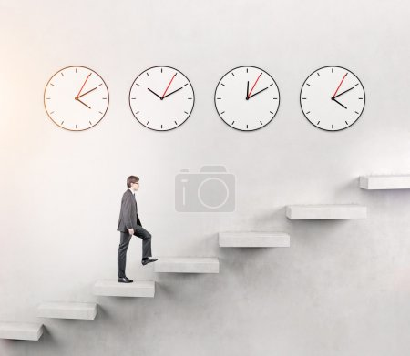 Man going upstairs, time running