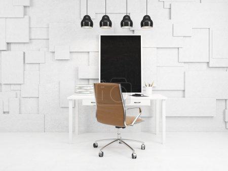 Photo pour Un lieu de travail avec un tableau noir dans un cadre blanc, des datebooks et des crayons sur la table avec des tiroirs, une chaise brune à la table. Quatre lampes au-dessus. Vue de face. Concept de décoration de bureau. rendu 3D - image libre de droit