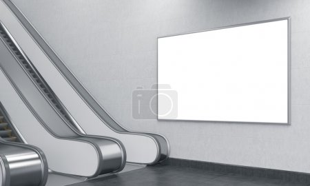 Photo for An escalator in the underground. A big horizontal blank poster over it. Side view. Concept of underground advertising. 3D rendering - Royalty Free Image