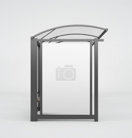 A glass and metal bus stop with a small bench and space for advertising.