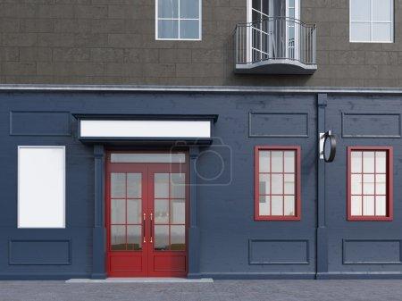 Hausfassade mit kleinem Café im Erdgeschoss.