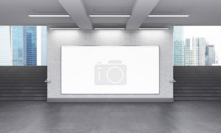 A big blank horizontal billboard in the underground, stairs up on both sides.