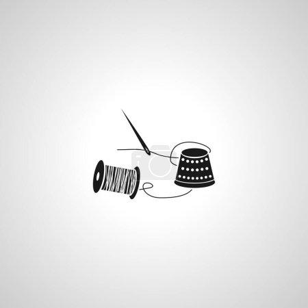 Illustration pour Aiguille et fil simple icône vectorielle isolée. aiguille et fil simple icône vectorielle isolée. aiguille et fil simple icône vectorielle isolée. - image libre de droit
