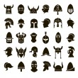 30 vector icons of black helmets of ancient warrio...