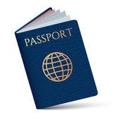 Dark blue passport on a white background