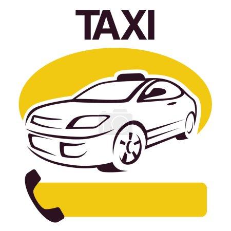 Illustration pour Voiture de taxi abstraite sur fond blanc - image libre de droit