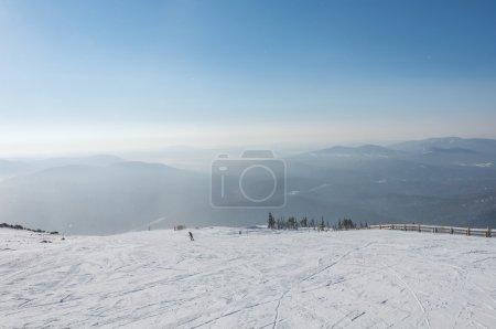 top view mountain ski slop