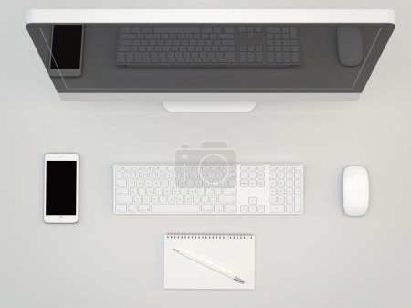 White Office table with computer ans smartphone