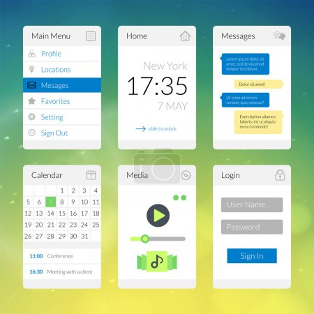 Mobile flat interface elements