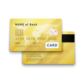 Set of detailed glossy gold credit card with two sides vector realistic icons isolated on white background