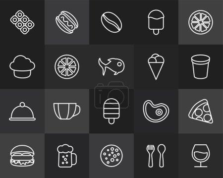 Photo pour Icônes contour design plat mince, style de trait de ligne moderne, élément de design web et mobile, objets et icônes vectorielles d'illustration ensemble 6 - collection de nourriture et de boissons - image libre de droit