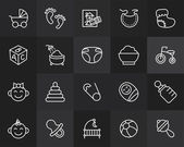 Outline icons thin flat design modern line stroke style web and mobile design element objects and vector illustration icons set 27 - baby and childhood collection